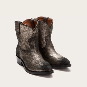 Frye Billy Short Metallic Gold Western Boots